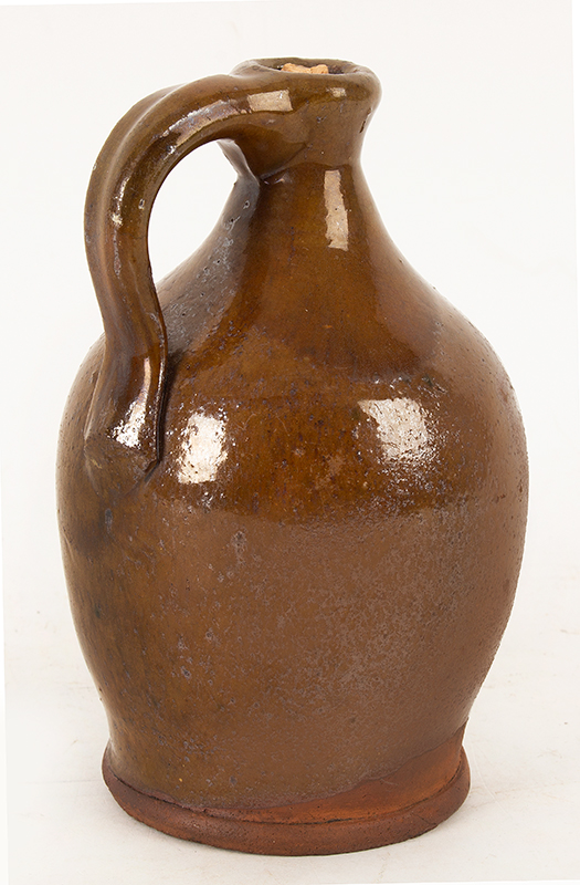 Antique Redware Jug, Smalls Size, Tall Neck, Tooled Spout & Foot Possibly Vermont, Circa 1800-1840, entire view 3