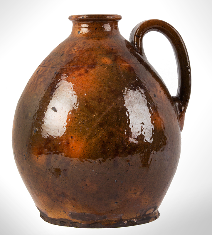 Antique Redware Jug, Nicely Potted Pennsylvania, circa 1840, entire view