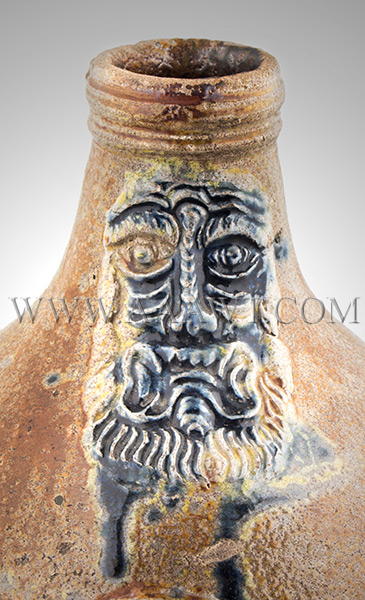 Antique Salt Glazed Stoneware Bellarmine Jug, Dated Seal, Brushed in Cobalt       Koln / Frechen, Germany, Dated 1648    A robust brown Bartman krug with three oval dated medalions and bearded mask, neck detail