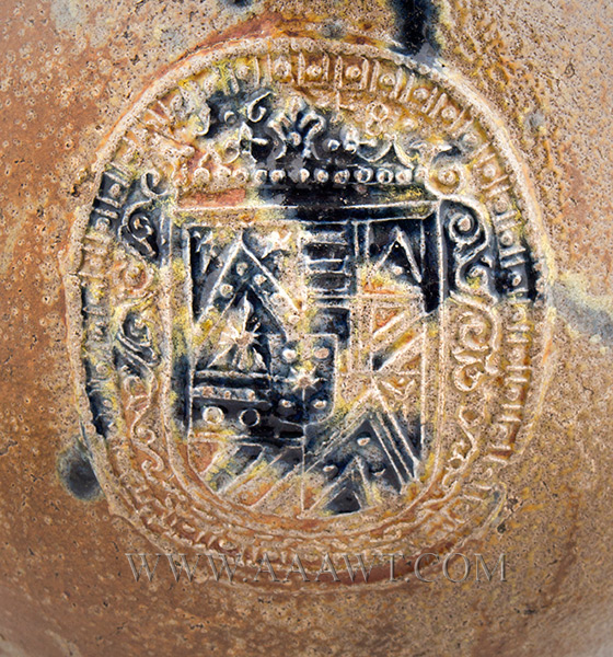 Antique Salt Glazed Stoneware Bellarmine Jug, Dated Seal, Brushed in Cobalt       Koln / Frechen, Germany, Dated 1648    A robust brown Bartman krug with three oval dated medalions and bearded mask, mark detail 1