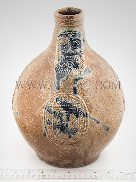 Antique Salt Glazed Stoneware Bellarmine Jug, Dated Seal, Brushed in Cobalt       Koln / Frechen, Germany, Dated 1648    A robust brown Bartman krug with three oval dated medalions and bearded mask, scale view