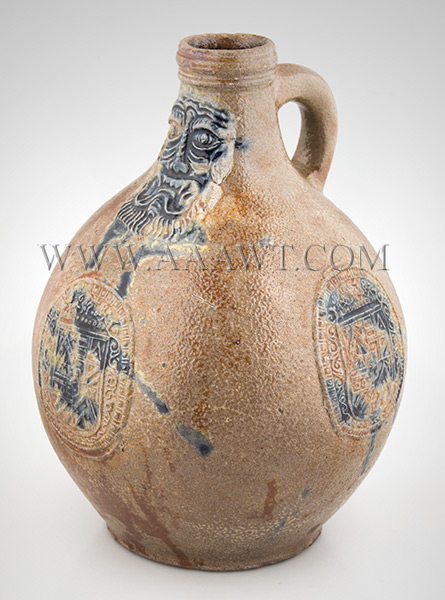 Antique Salt Glazed Stoneware Bellarmine Jug, Dated Seal, Brushed in Cobalt       Koln / Frechen, Germany, Dated 1648    A robust brown Bartman krug with three oval dated medalions and bearded mask, entire view 1