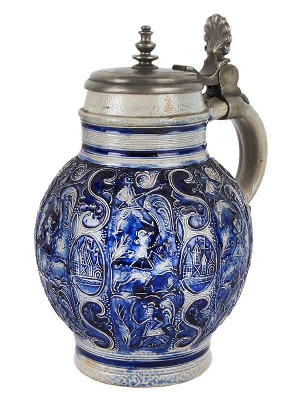 Raeren or Westerwald Salt Glazed Pewter Mounted Pitcher, Pot Belly Kugelbauchkanne Germany, Circa 1700, entire view