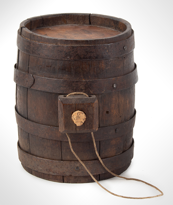Canteen, Cask, Rundelet, Stave & Hoop Construction New England, circa 1775-1825 Ash staves, pine heads, original surface, entire view 3