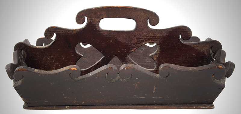 Cutlery Tray, Canted & Scrolled Sides, Heart Cutouts Litchfield, Maine circa 1825-1845 Whitewood  Pierced & Scalloped Carrier, 3 Heart Cutouts, Original Surface, entire view 1