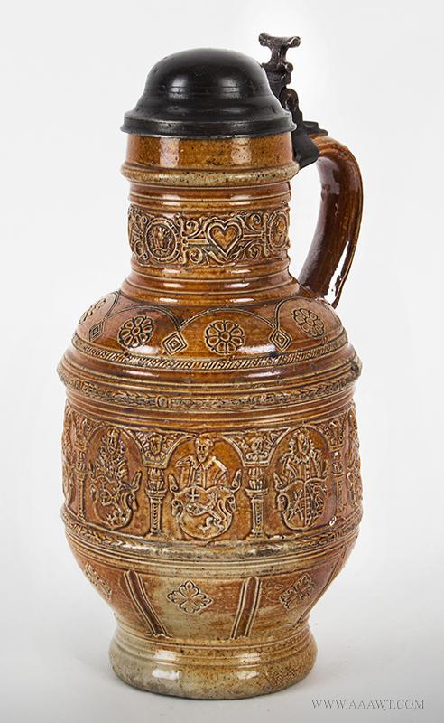 Raeren, Brown Salt Glaze Jug, Kurfursten Krug, Pewter Mounted Rulers Jug Germany, Dated 1602, entire view