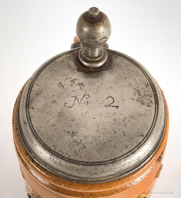 Altenburg Tankard, Perlkrug, Salt Glazed Stoneware Cylindrical Stein, Pearl Decoration, lid detail