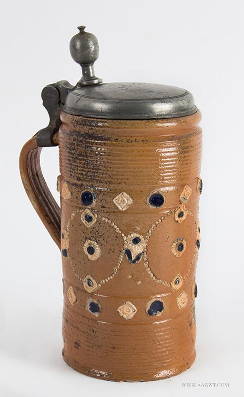 Altenburg Tankard, Perlkrug, Salt Glazed Stoneware Cylindrical Stein, Pearl Decoration, entire view 1