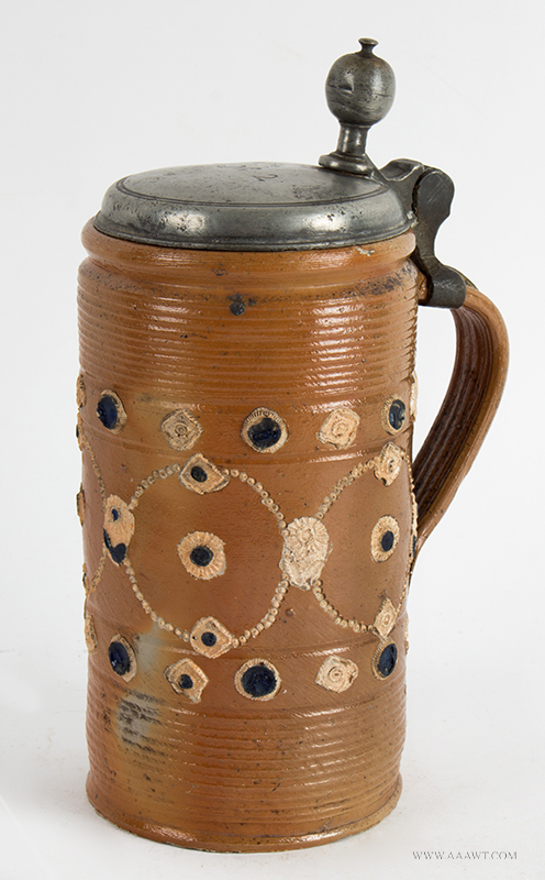 Altenburg Tankard, Perlkrug, Salt Glazed Stoneware Cylindrical Stein, Pearl Decoration, entire view 2