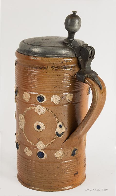 Altenburg Tankard, Perlkrug, Salt Glazed Stoneware Cylindrical Stein, Pearl Decoration, entire view 3