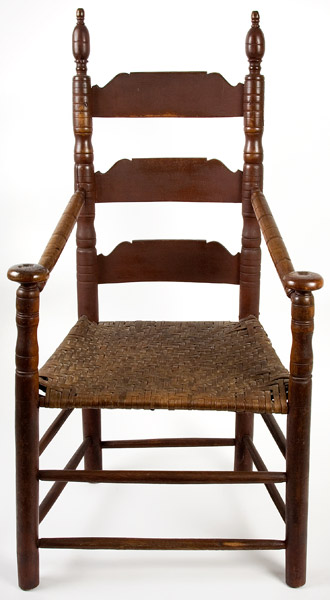 A Period Turned Great-Chair with Oversized Pommels New London County, Connecticut, Circa 1700 A Classic Example of Early Connecticut Craftsmanship Maple and ash, great red painted surface, entire view