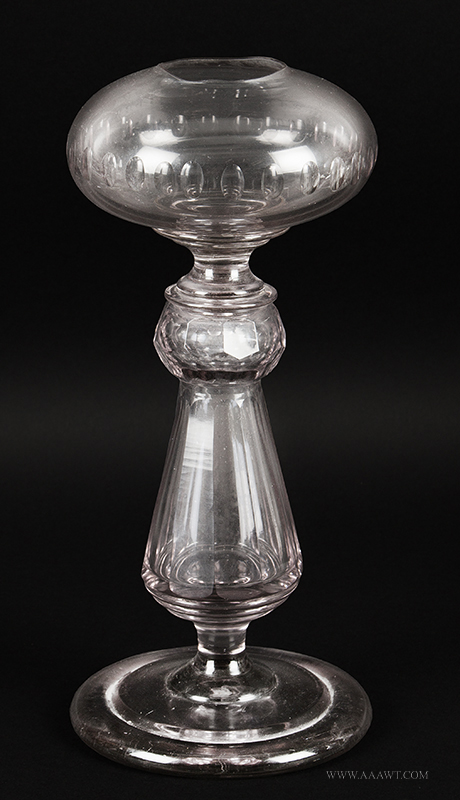 Blown & Cut Colorless Glass Fluid Lamp, Oversized, Lavender Tint Unknown Maker, 19th Century, entire view