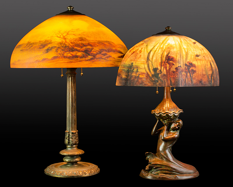 """On the right: GENUINE PERIOD HANDEL UNDERWATER LAMP WITH MERMAID BASE Rare and stunning! The shade is signed and numbered """"Handel 6807"""", entire view"""