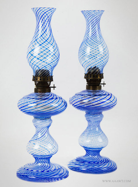 Pair of Kerosene Lamps, Victorian, Blue and White Swirl, Glass with Original Chimneys