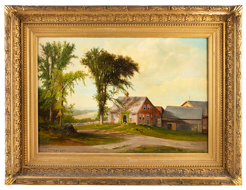 Samuel Griggs, Painting, Old Farmhouse and Barns, White Mountains Oil on Canvas Original stretcher and frame