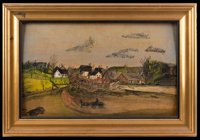 Antique, Folk Art Landscapes, North Litchfield Village, Maine  Litchfield, Kennebec County, Maine Oil paintings on basswood panel, entire view 1