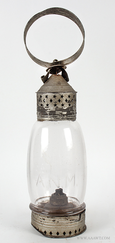 Lantern, Tin, Punched Diamond and Star, Ring Handle, Etched Glass, Whale Oil Burner