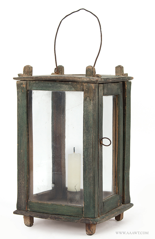 Wood Frame Candle Lantern, Original Green Paint, Glazed, 19th Century, entire view 2