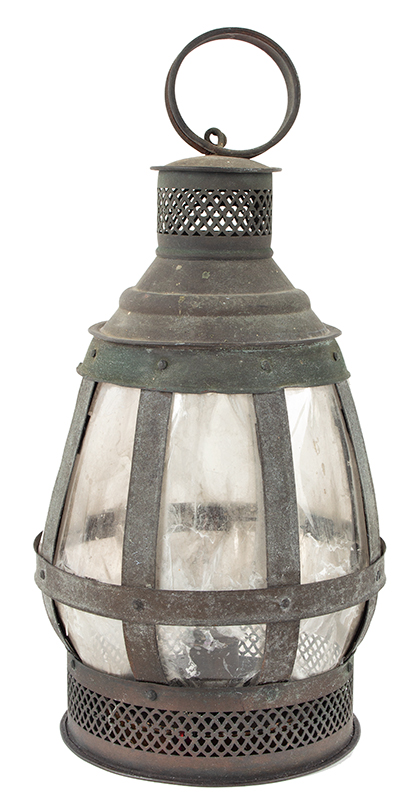 Antique Candle Lantern, Copper Frame, Mica Lights, Great Verdigris Patina  Anonymous, Mid-19th Century  Unusual & wonderful form, pierced drafting, carrying handle, single candle nozzle, entire view 1