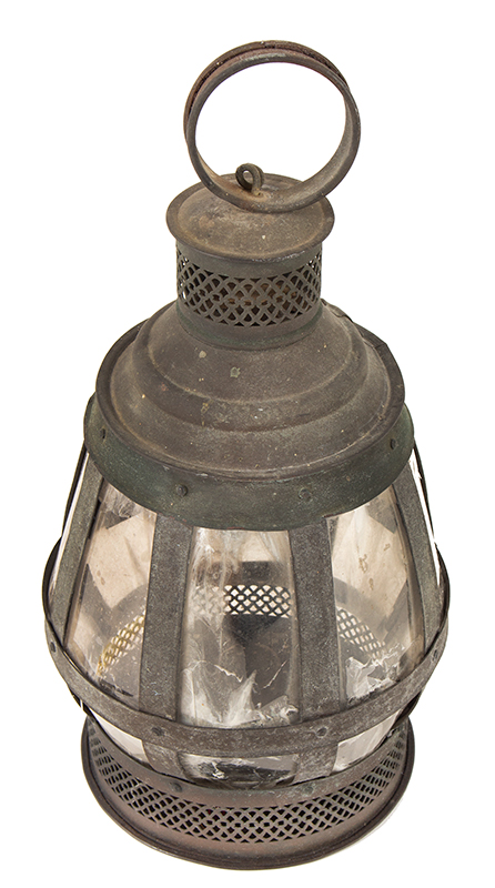 Antique Candle Lantern, Copper Frame, Mica Lights, Great Verdigris Patina  Anonymous, Mid-19th Century  Unusual & wonderful form, pierced drafting, carrying handle, single candle nozzle, entire view 2