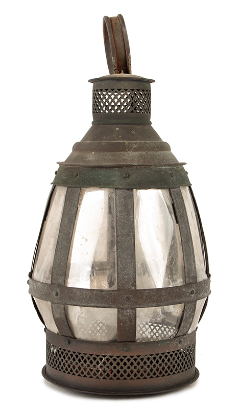 Antique Candle Lantern, Copper Frame, Mica Lights, Great Verdigris Patina  Anonymous, Mid-19th Century  Unusual & wonderful form, pierced drafting, carrying handle, single candle nozzle, entire view 3