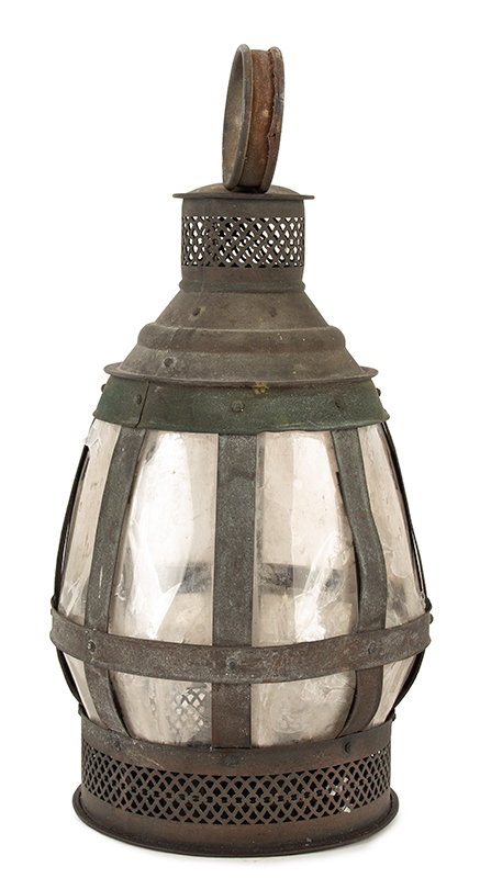 Antique Candle Lantern, Copper Frame, Mica Lights, Great Verdigris Patina  Anonymous, Mid-19th Century  Unusual & wonderful form, pierced drafting, carrying handle, single candle nozzle, entire view 4