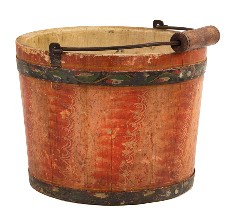 Lehnware Bucket, Original Salmon Grained Paint, White Interior, Leafy Vine Hoops  Joseph Lehn (Lancaster County, 1798 to 1892)