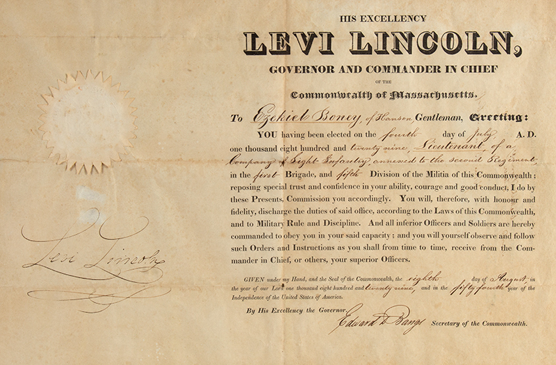 Levi Lincoln Jr. Military Appointment Signed. 1829