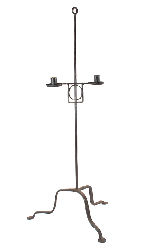 Candlestand, Wrought Iron, Two Light, Adjustable, American, 18th Century