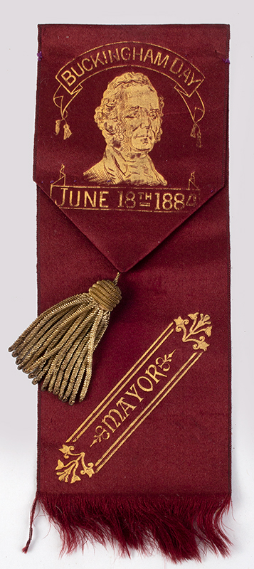 4.Satin Ribbon, Gold Embossed: BUCKINGHAM DAY – JUNE 18, 1884, MAYOR, entire view