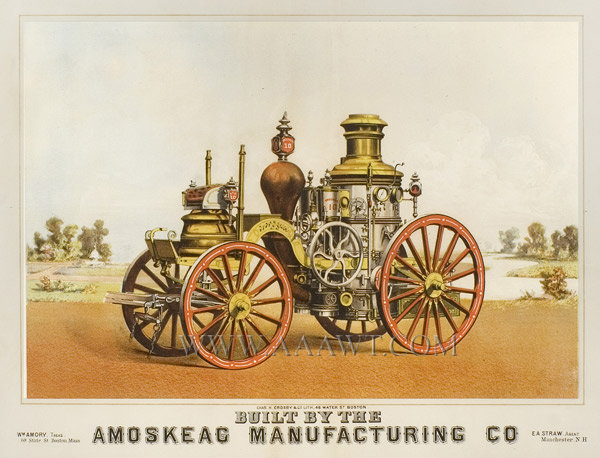 Fire Pumper, Lithograph, Brooklyn 10, Amoskeag Mfg. Co., Great Color Manchester, New Hampshire Litho by Charles Crosby, Boston Circa 1865 to 1875, entire view
