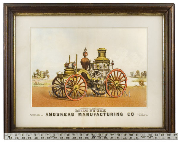 Fire Pumper, Lithograph, Brooklyn 10, Amoskeag Mfg. Co., Great Color Manchester, New Hampshire Litho by Charles Crosby, Boston Circa 1865 to 1875, scale view