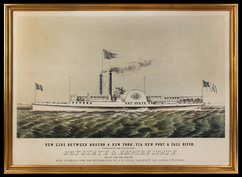 NEW LINE BETWEEN BOSTON & NEW YORK – VIA NEWPORT AND FALL RIVER COMPOSTED OF THE NEW STEAMERS BAY STATE & EMPIRE STATE EACH OF 1600 TONS BURTHEN BUILT EXPRESSLY FOR THE OUTSIDE ROUTE & IN EVERY RESPECT SEA GOING STEAMERS Pained BY W. MARSH ESQRE. N.Y. LITH. BY F. & S. PALMER, 34 ANN ST. N.Y., entire view