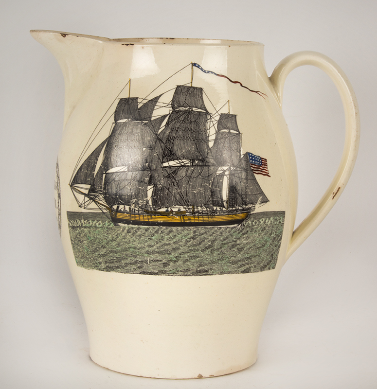 Masonic Liverpool Jug Named to Solomon Clarkson, entire view
