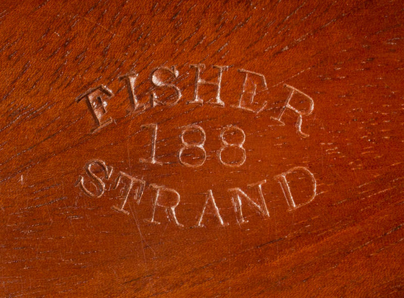 Fine Antique Brass Bound Portable Writing Desk, Outstanding Wood, by Fisher  Signed: FISHER 188 STRAND, 19th Century, Best Coromandel & Mahogany  London, brand detail