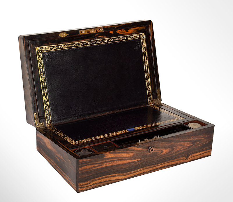 Fine Antique Brass Bound Portable Writing Desk, Outstanding Wood, by Fisher  Signed: FISHER 188 STRAND, 19th Century, Best Coromandel & Mahogany  London, entire view 2