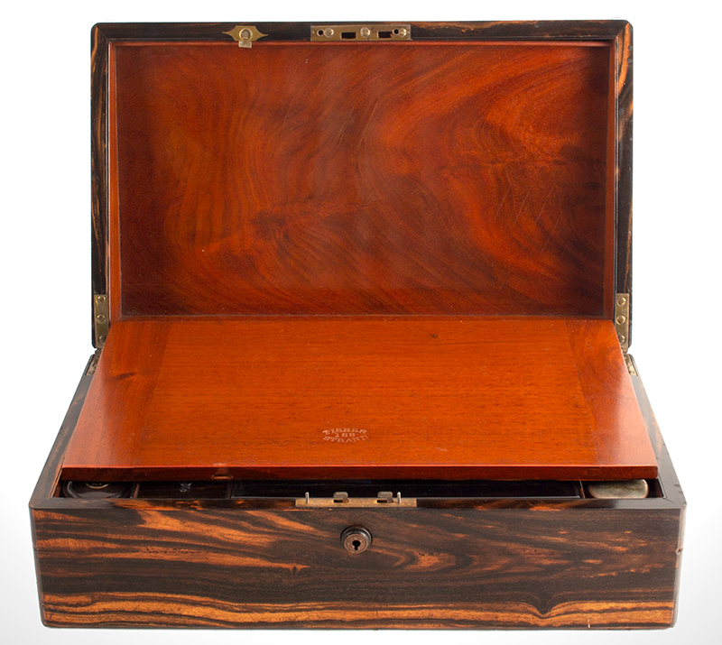 Fine Antique Brass Bound Portable Writing Desk, Outstanding Wood, by Fisher  Signed: FISHER 188 STRAND, 19th Century, Best Coromandel & Mahogany  London, entire view 3