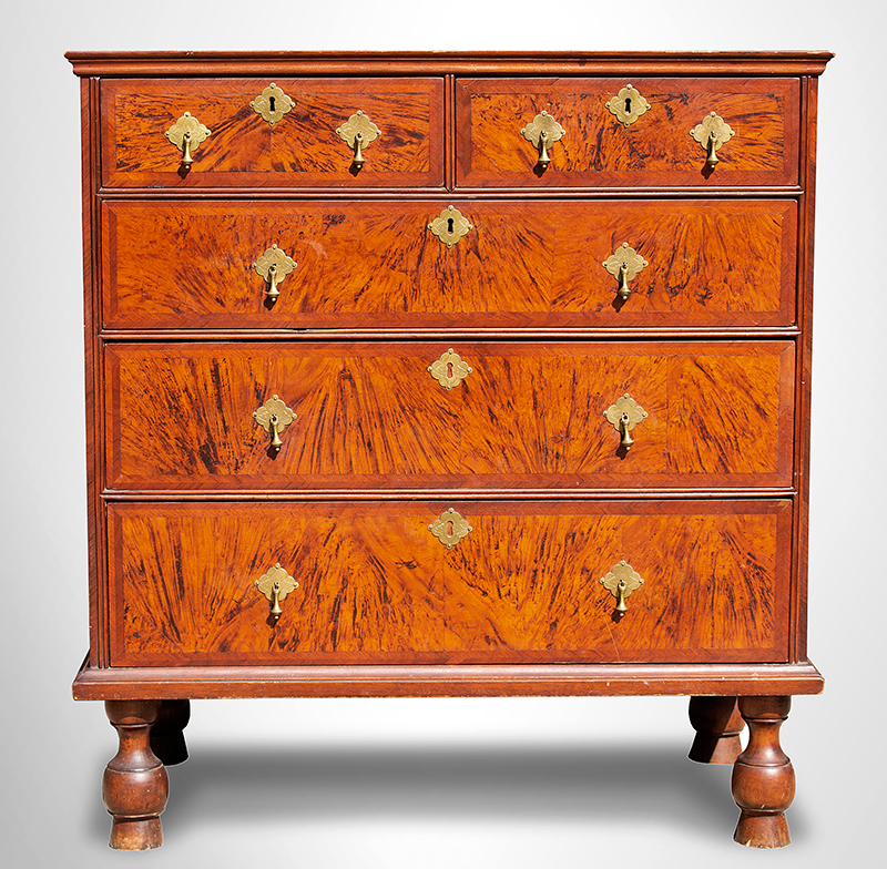A Period William and Mary Chest of Drawers Boston or Salem, Massachusetts, circa 1700-1725, entire view 1
