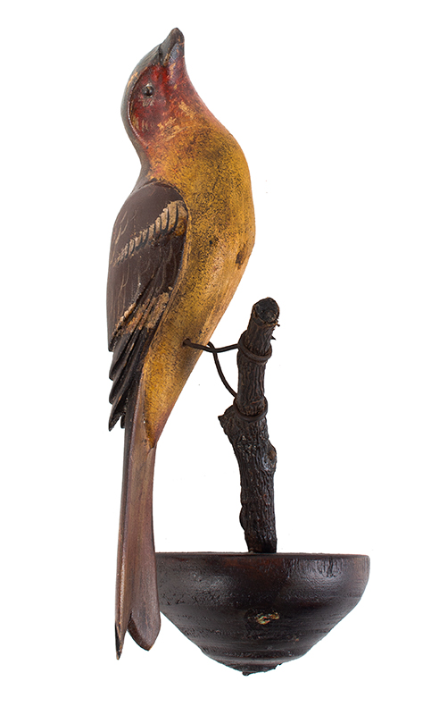 Carved and painted finch on branch, PA, c 1890's, entire view