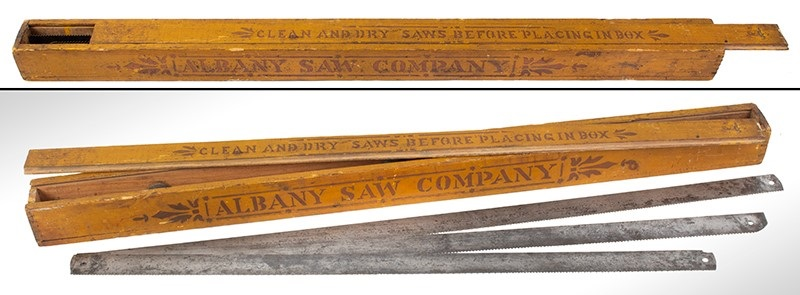 MH4-52_Saw-Blade-Box,-Mustard,-Red-Lettering,-Albany-Saw-Co