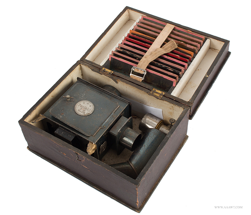 Magic Lantern, Perfekt J.S., Manufactured by Jean Schoenner, with 12-Slides, Late 19th C.