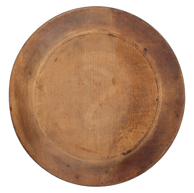 18th Century Treen Dish, Wooden Plate New England, circa 1770-1800 Maple, back view