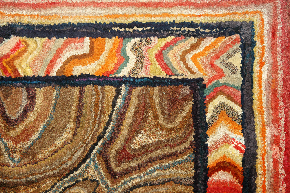 Antique Hooked Rug, Outstanding Large Area Rug, Ex Jean Lipman and Bisnoff Collection New England, 19th Century Outstanding composition, will establish the theme and demand attention in any room, detail view 3