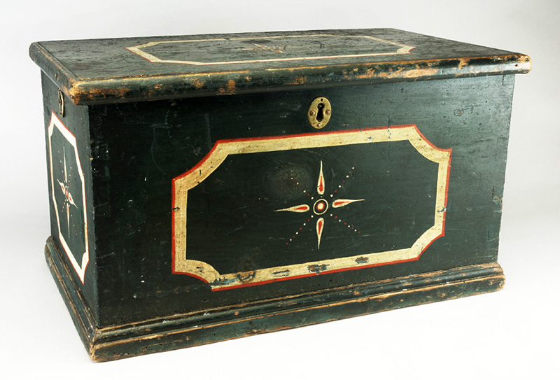 Antique Paint Decorated Trunk, Three Iron Locks, Handwrought Strap Hinges  Unknown Maker, Early 19th Century, entire view