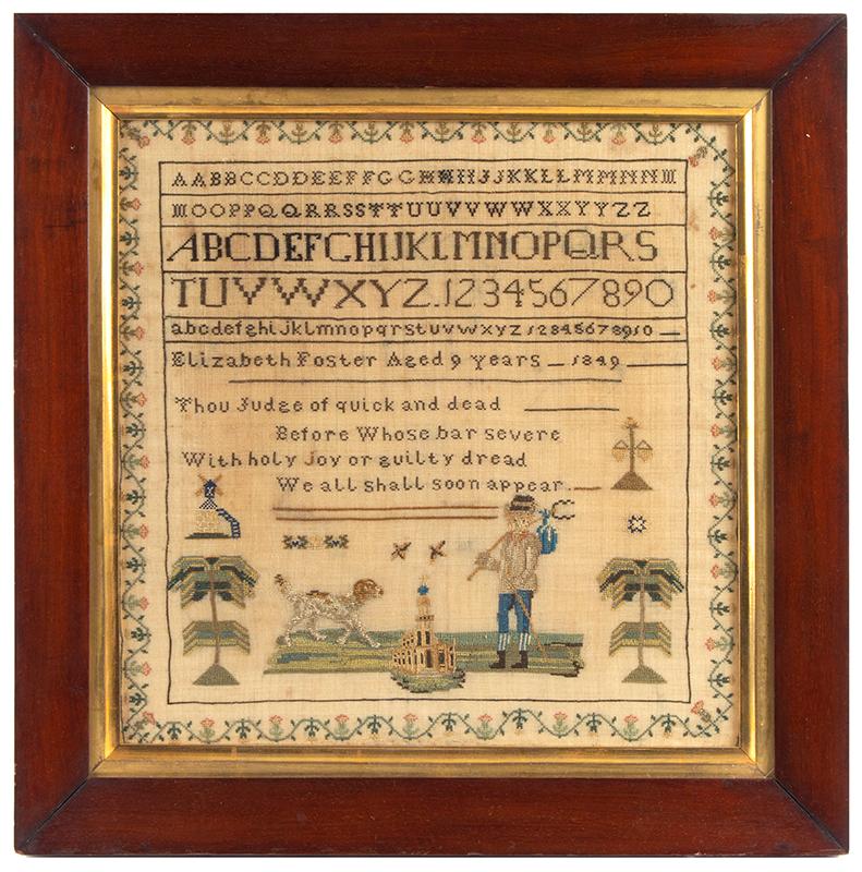 Antique Sampler, Elizabeth Foster, Aged 9, 1849