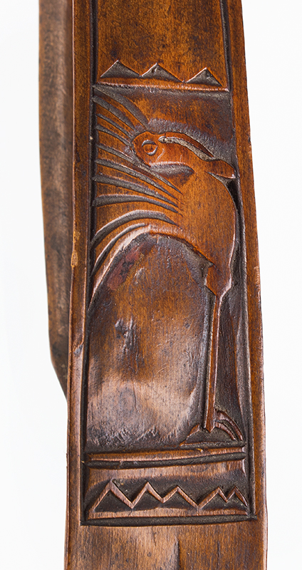 Antique, Love Spoon, Marriage Spoon Anonymous, Europe, 19th Century Fruitwood, detail view 2
