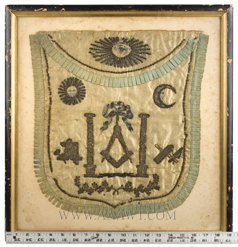Masonic Apron, Shield Shape, Printed and Painted Silk, Bullion, Spangles Ex Colonel Louis Kolbs Collection, Philadelphia; Sold 1941 America, Early Nineteenth Century Anonymous, entire view