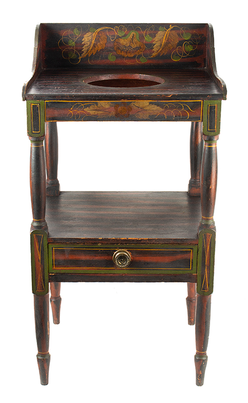 Antique Basin Stand, A Fine Paint Decorated Washstand, Maine, Circa 1820-1840, entire view 1