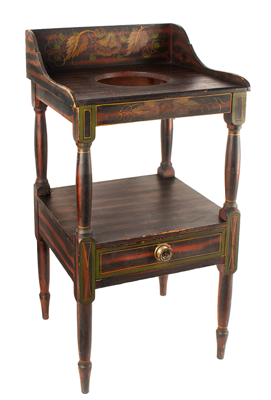Antique Basin Stand, A Fine Paint Decorated Washstand, Maine, Circa 1820-1840, entire view 2