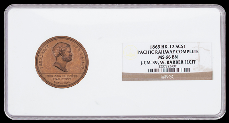 U.S. Mint Medal, 1869 Pacific Railway Completion,     Bronze, By William Barber NGC Certified,entire